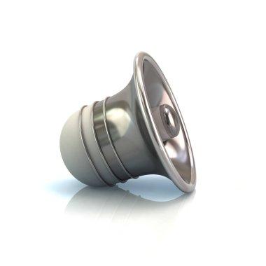 Silver speaker on white background