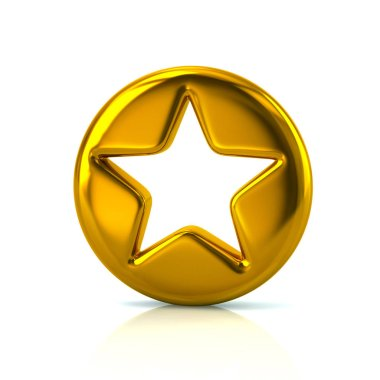 Golden star sign button