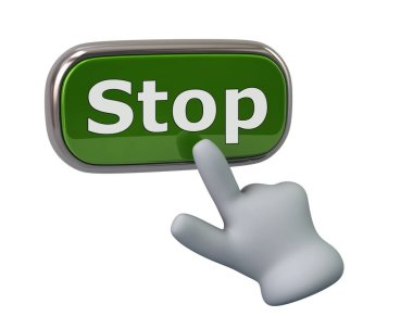 Hand pressing green stop button