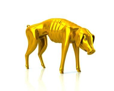 poor gold piggy bank