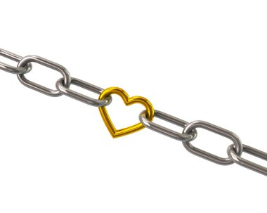 Chain with golden heart link