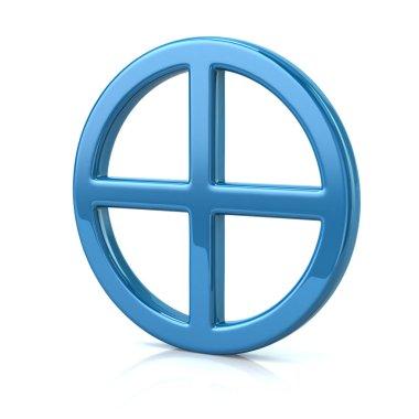 3d illustraion of blue sun cross symbol