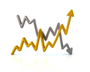 Business graph with gold and silver arrows