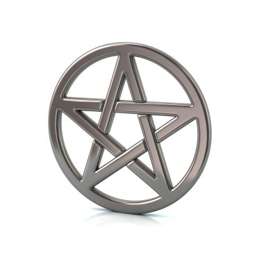 silver pentacle on white