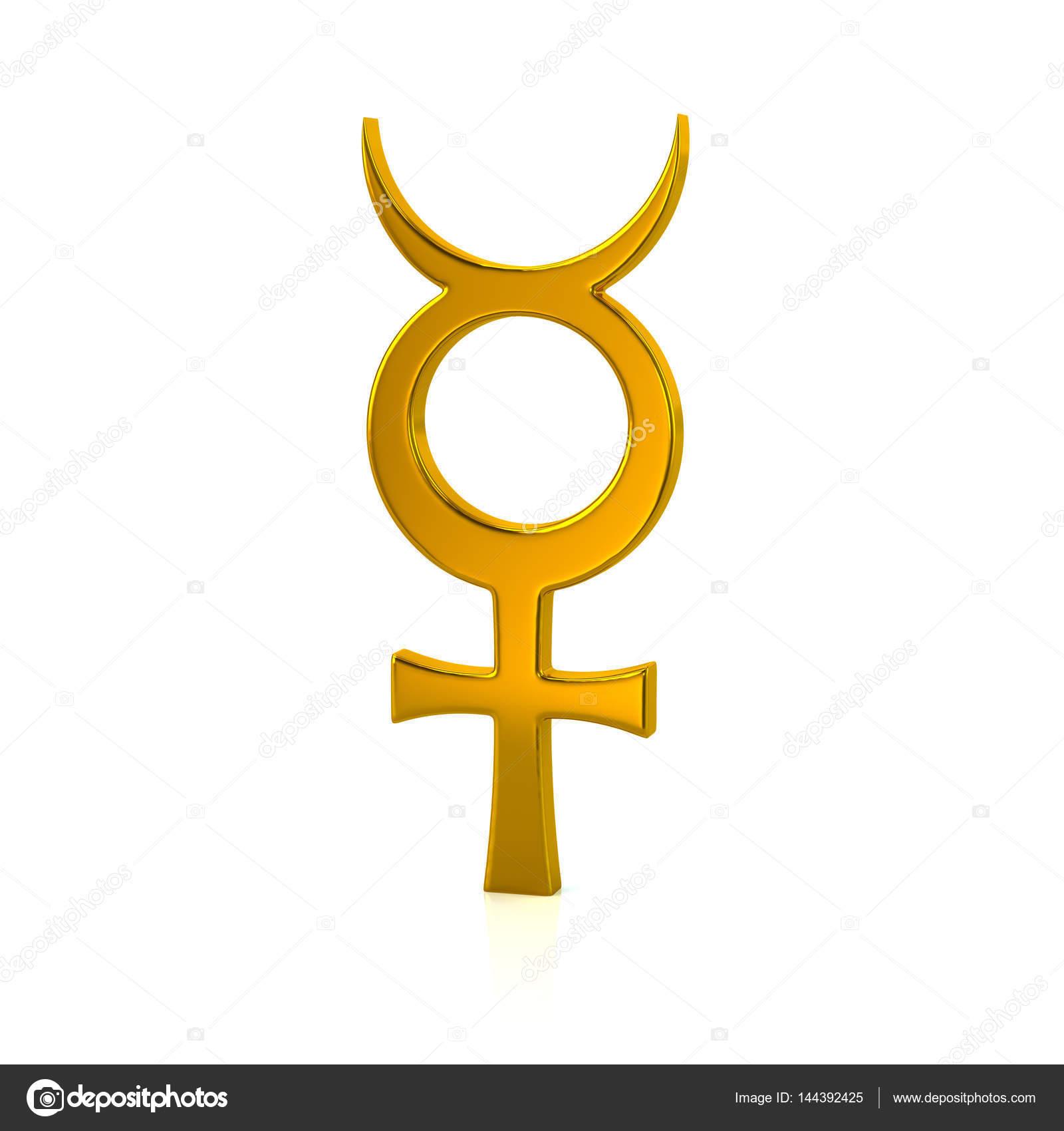 Golden mercury symbol stock photo valdum 144392425 3d illustration of golden mercury symbol isolated on white background photo by valdum buycottarizona Choice Image