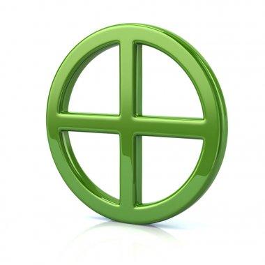 green sun cross symbol