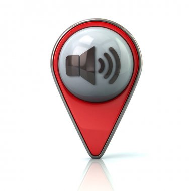 Red map pointer with speaker icon