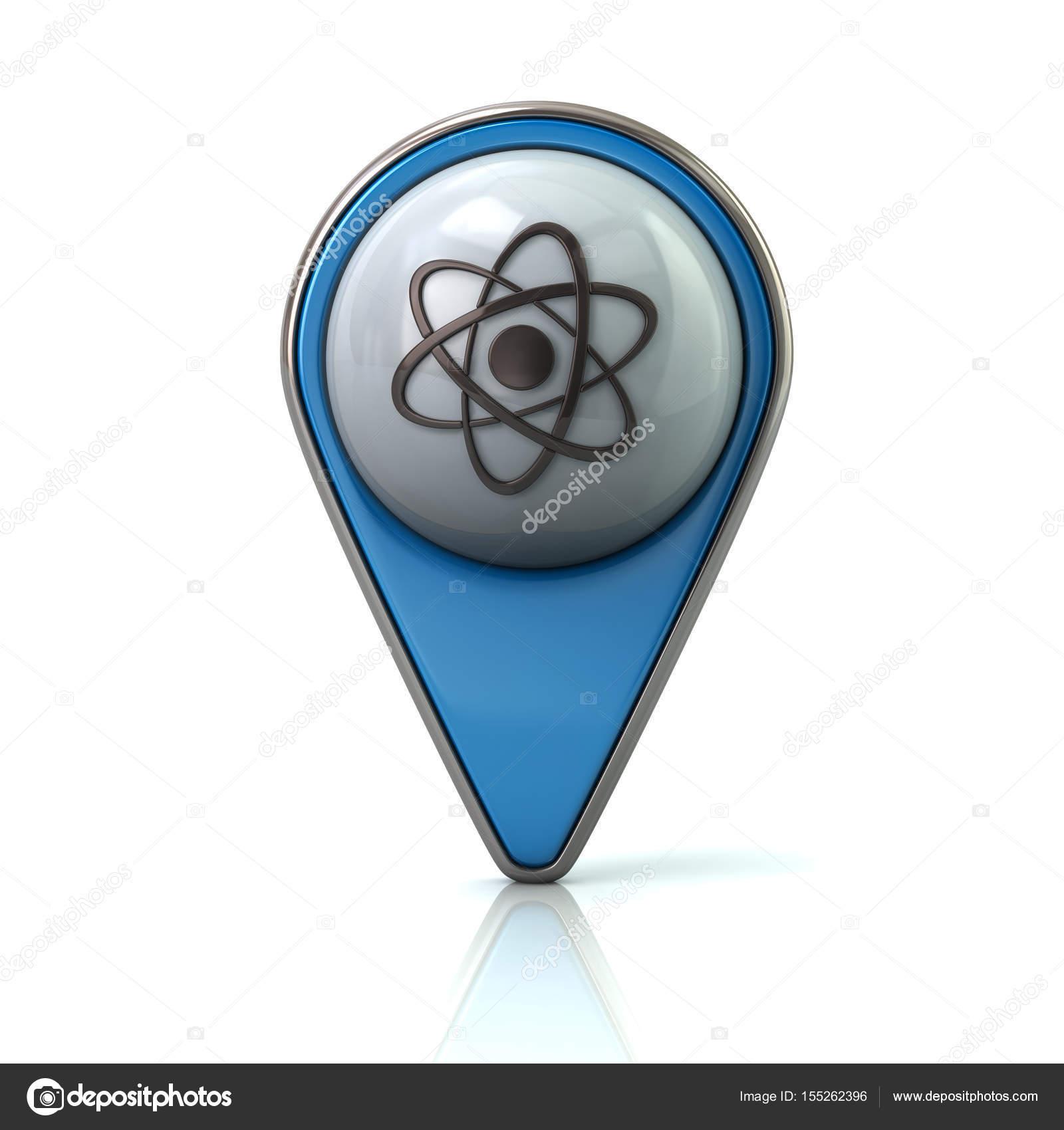 atom アイコンで青いマップ ポインター ストック写真 valdum 155262396