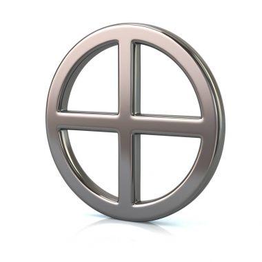 3d illustration of silver sun cross symbol