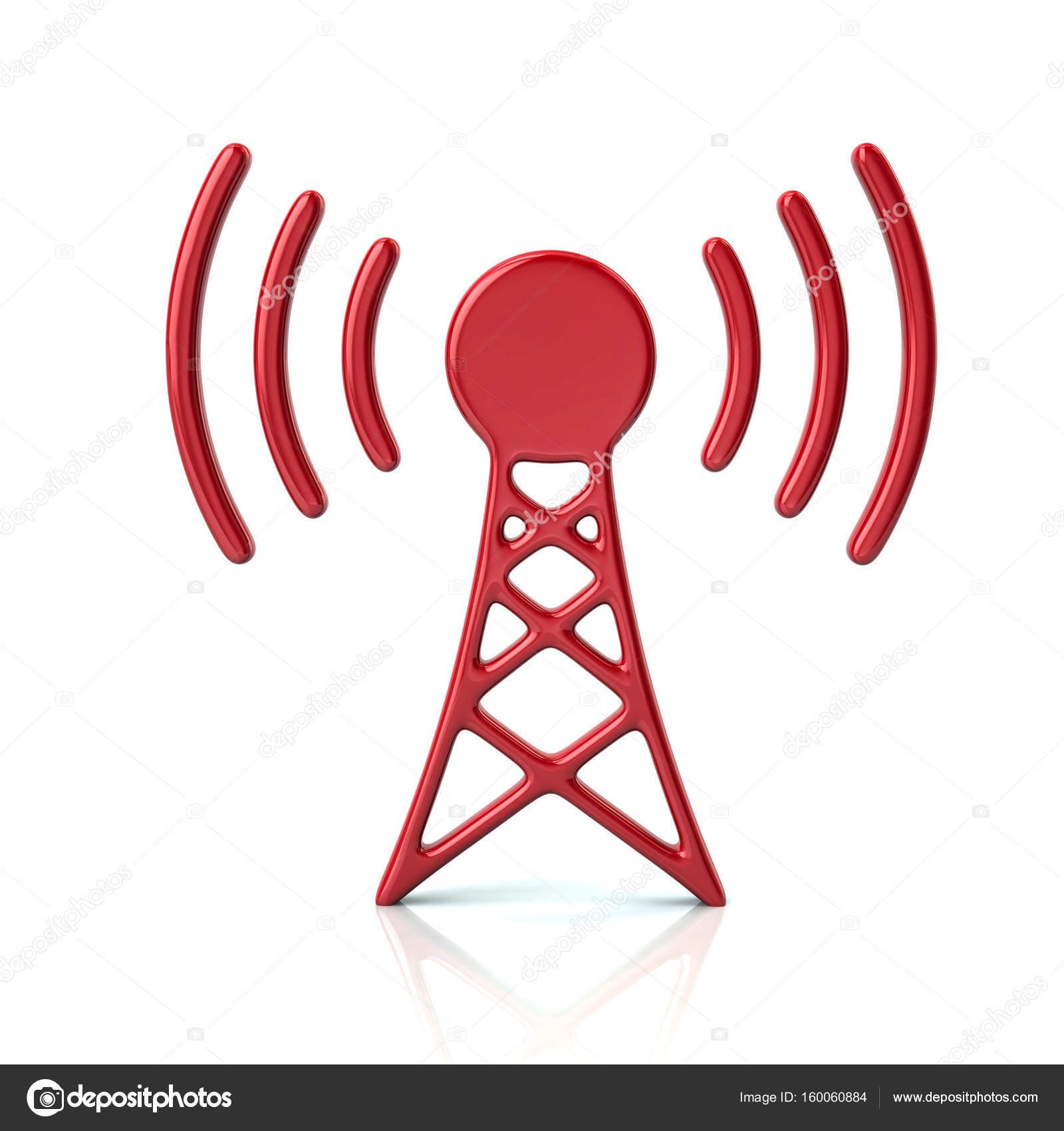 Rote Sender Turm Symbol — Stockfoto © valdum #160060884