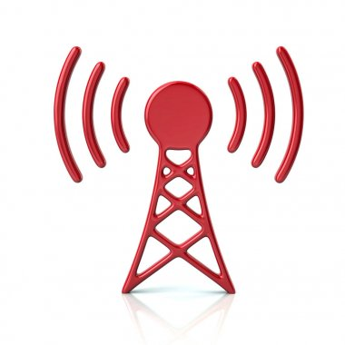 Red transmitter tower icon 3d illustration on white background stock vector