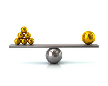 Scales with golden balls