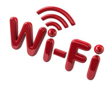 Red wi-fi text symbol