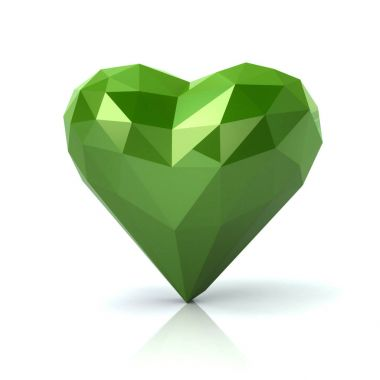 Low poly green heart 3d illustration
