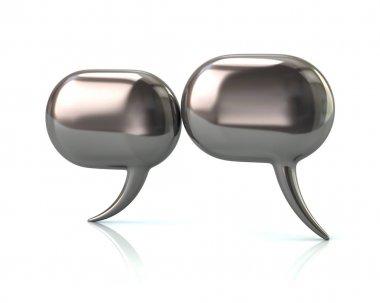 Silver glossy speech bubbles