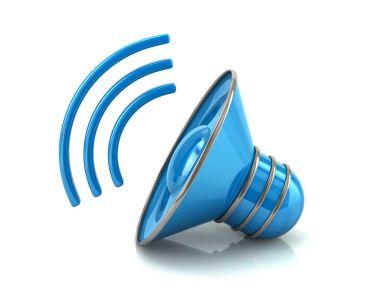 Blue audio speaker volume icon