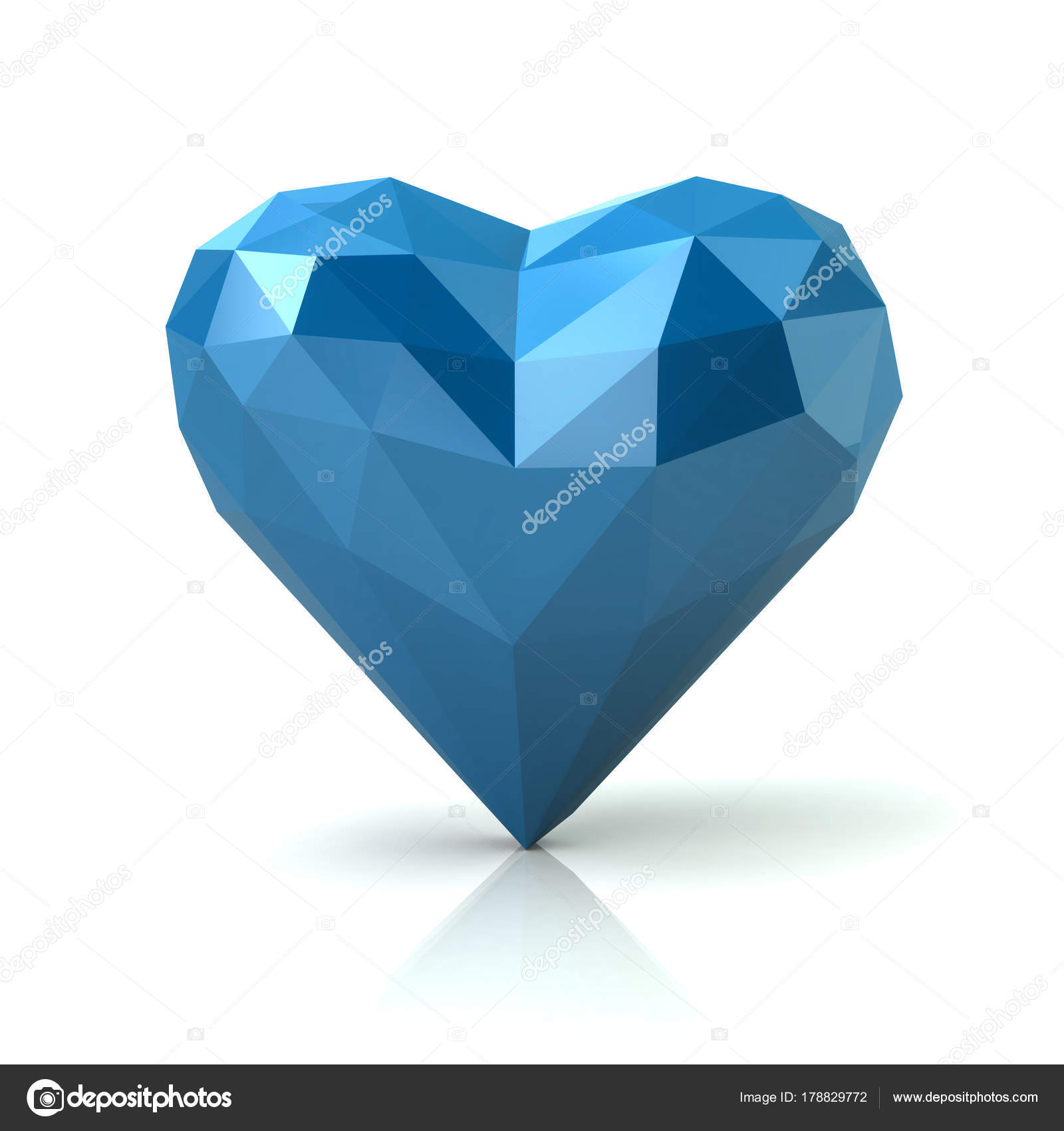 Low poly abstract blue heart — Stock Photo © valdum #178829772