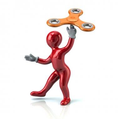 Red man with orange fidget spinner