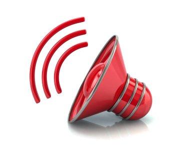 3d illustration of red audio speaker volume icon isolated on white background, vector, illustration