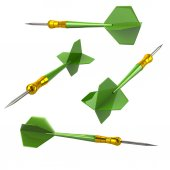 Green darts arrows 3d illustration isolated on white background
