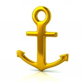 Photo Golden anchor icon isolated on white background