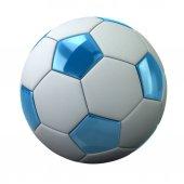 Fotografia Pallone da calcio bianco e blu isolato su priorità bassa bianca