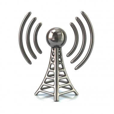 Silver wireless tower isolated on white background stock vector