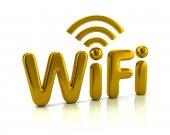 Fotografie Golden letters WiFi on white background