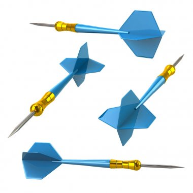 Blue darts arrows 3d illustration isolated on white background