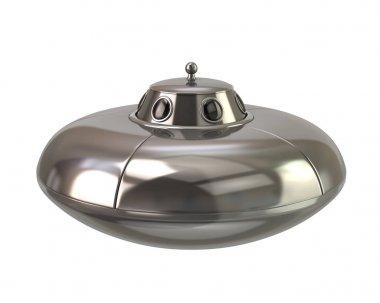 UFO - silver alien spaceship 3d illustration on white background