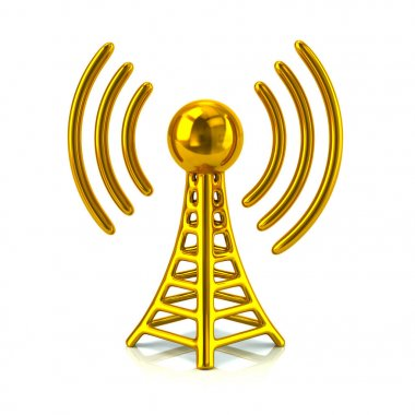 Golden wireless tower isolated on white background stock vector