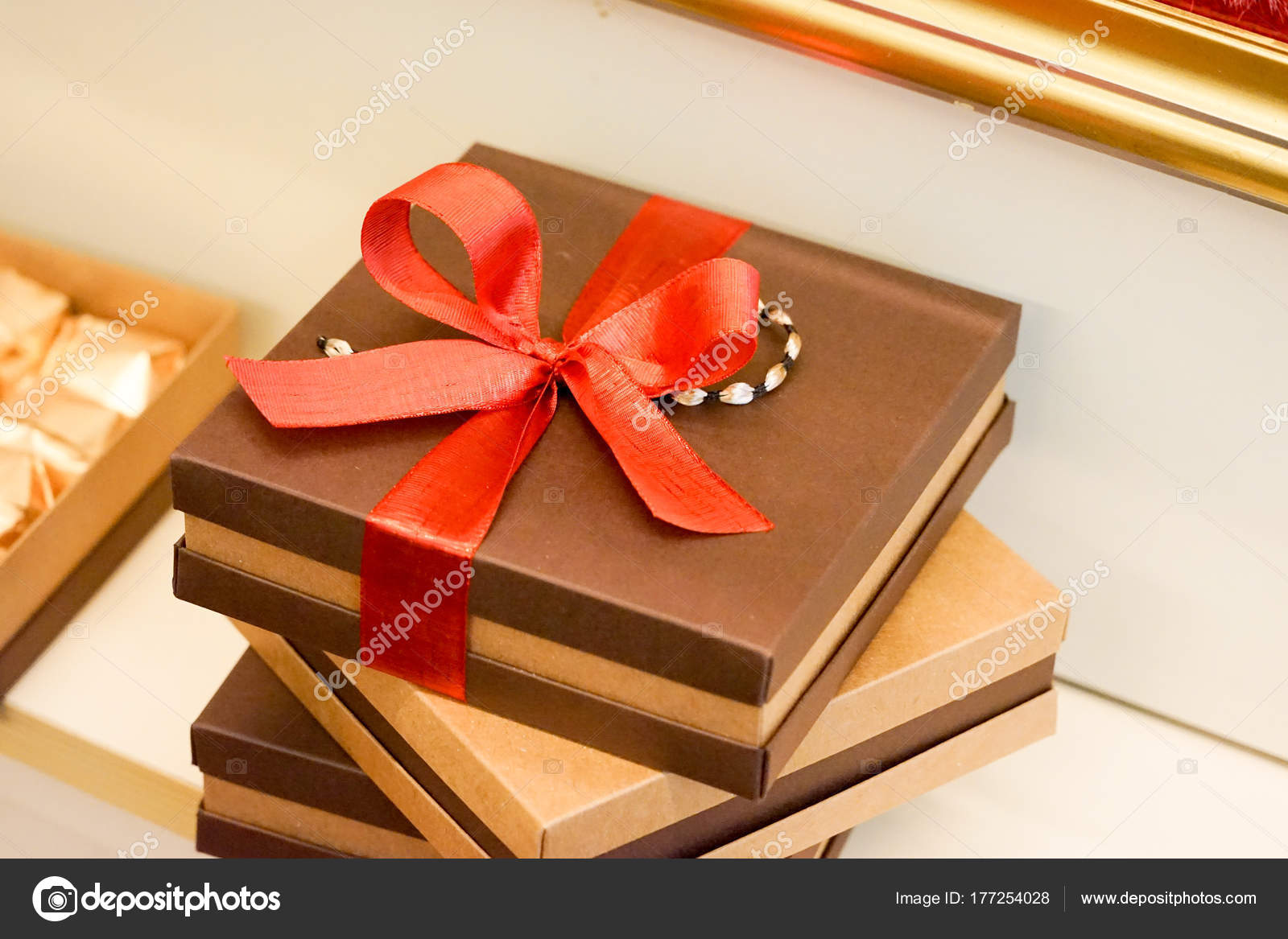 Christmas Gift Packages.Christmas Tree Ornaments Gift Packages Stock Photo