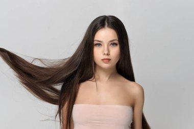 Long hair fluttering in the wind