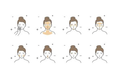 Steps how to apply face make-up. Vector isolated illustrations set. Beauty make-up. icon