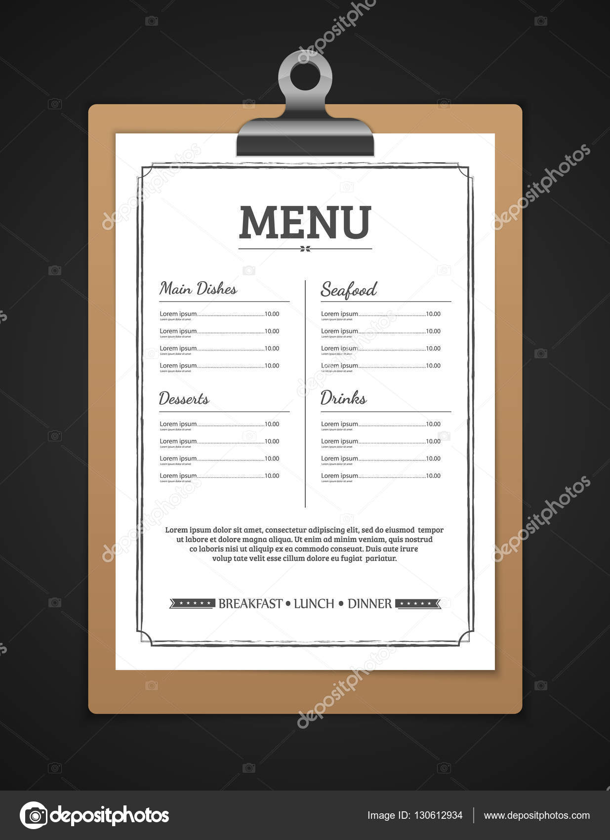 Menu Restaurant Template Vector Stock Vector C Sarawuth702 130612934