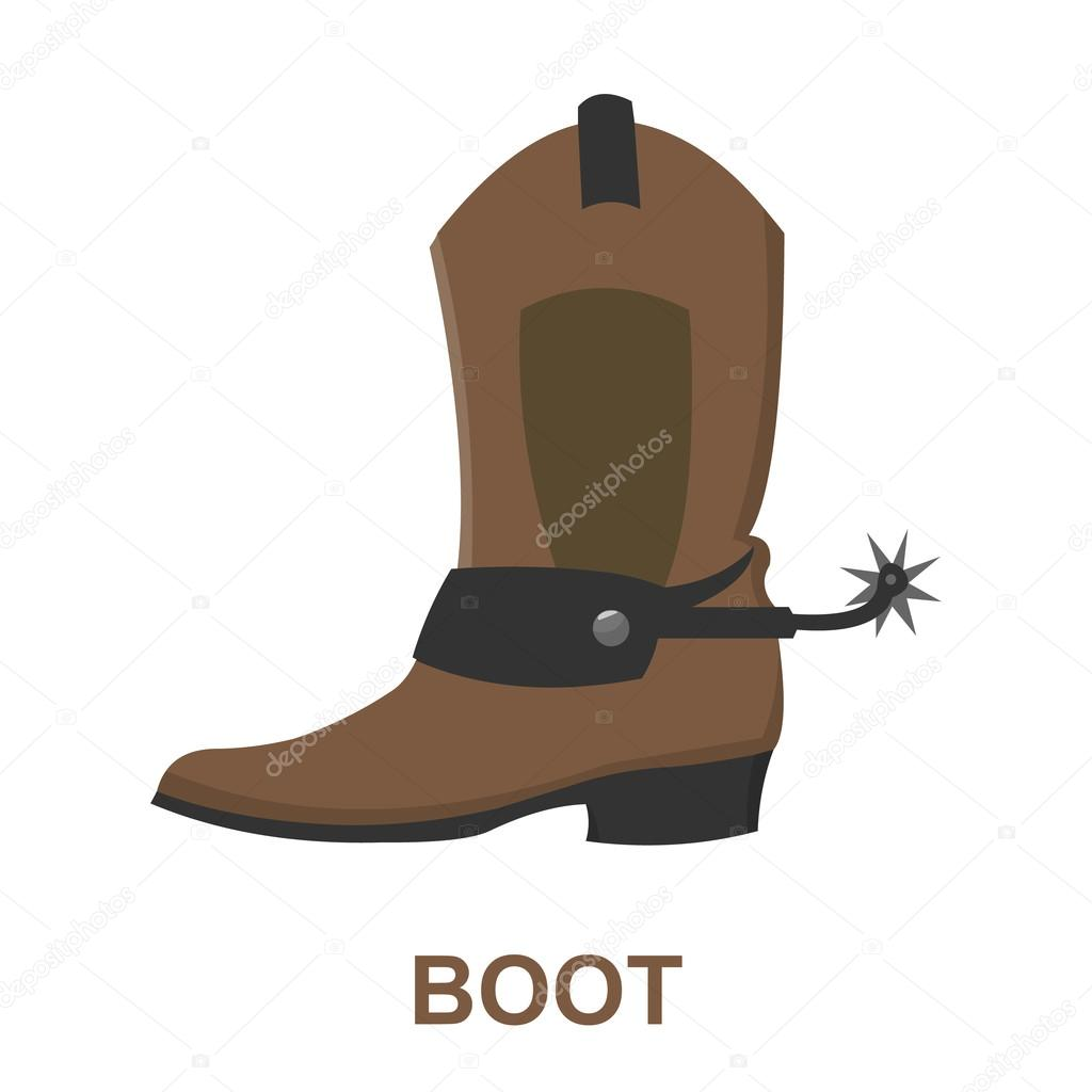 Cowboy boot icon cartoon. Singe western icon from the wild west set ...