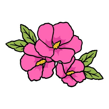 Rose of sharon icon in cartoon style isolated on white background. South Korea symbol stock vector illustration.