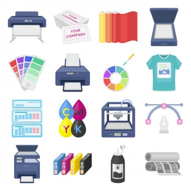 Typography set icons in cartoon style. Big collection of typography vector illustration symbol.