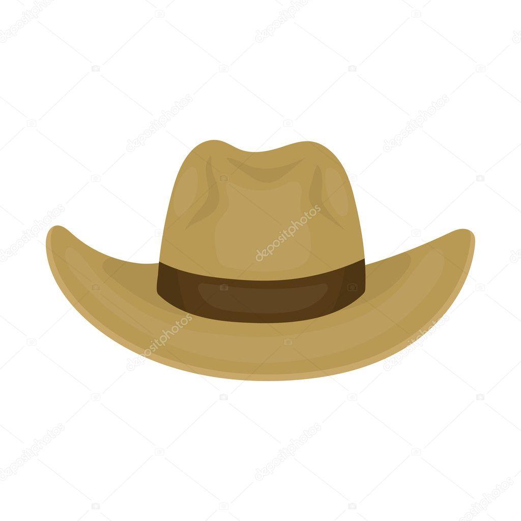 Icono del sombrero de vaquero en estilo de dibujos animados aislado sobre fondo  blanco. Ilustración de vector de símbolo de sombreros - fondo  sombreros de  ... 795bff68b62