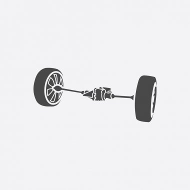 Front car suspension icon. Single silhouette auto parts icon from the big car black - stock rastr