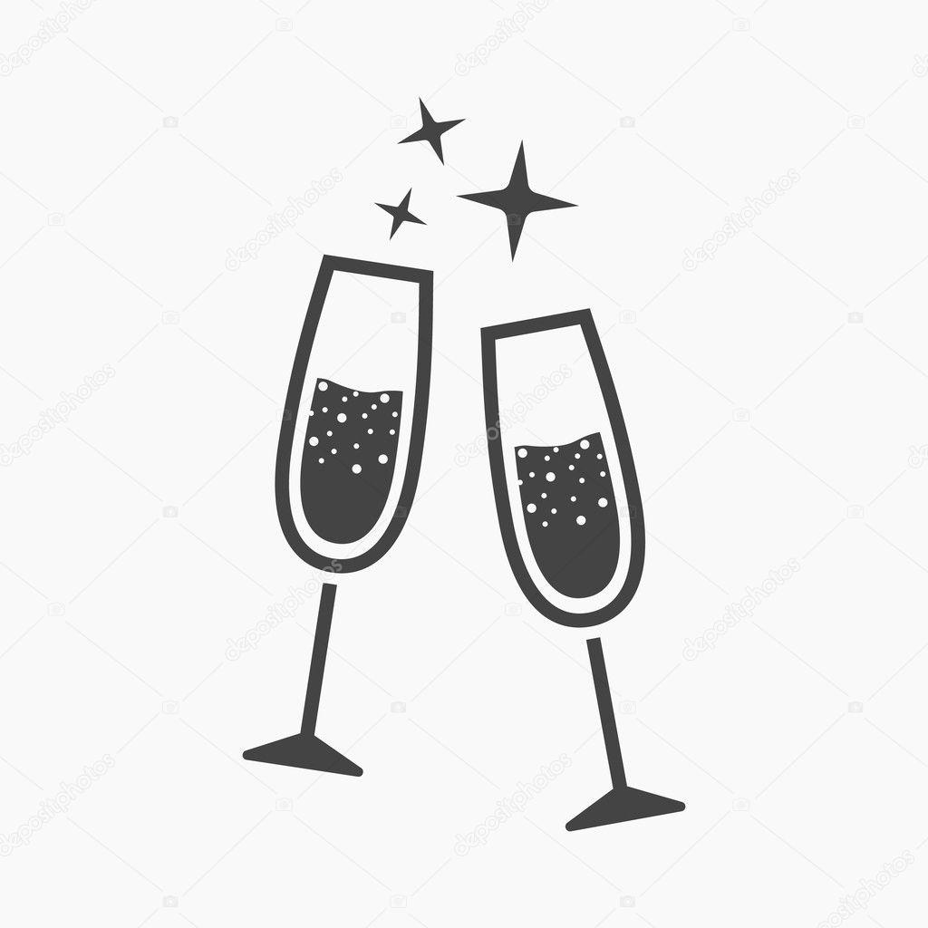 Champagnerglas-Ikone der rastr Illustration für Web und