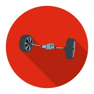 Front car suspension icon flat. Single silhouette auto parts icon from the big car flat - stock rastr
