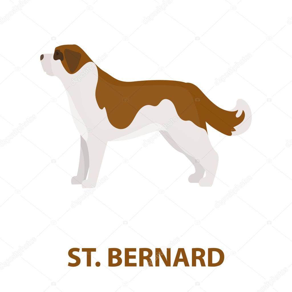 Icona di rastr del cane san bernardo in stile cartone