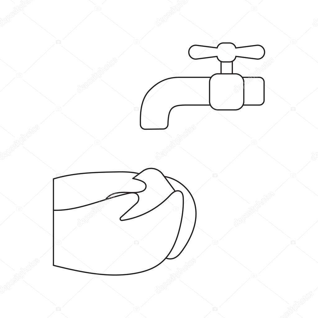 Dibujos Lavado De Manos Dibujos Animados Icono De La Lavado De