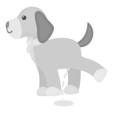 Pissing dog vector icon in monochrome style for web