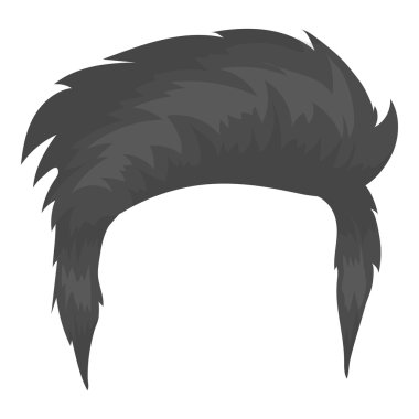 Mans hairstyle icon in monochrome style isolated on white background. Beard symbol stock vector illustration.