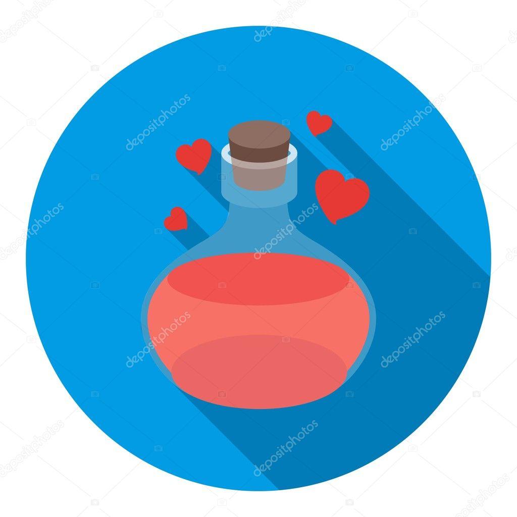 Love potion icon in flat style isolated on white background