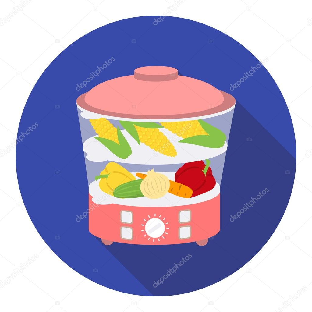 Food Steamer Icon In Flat Style Isolated On White Background