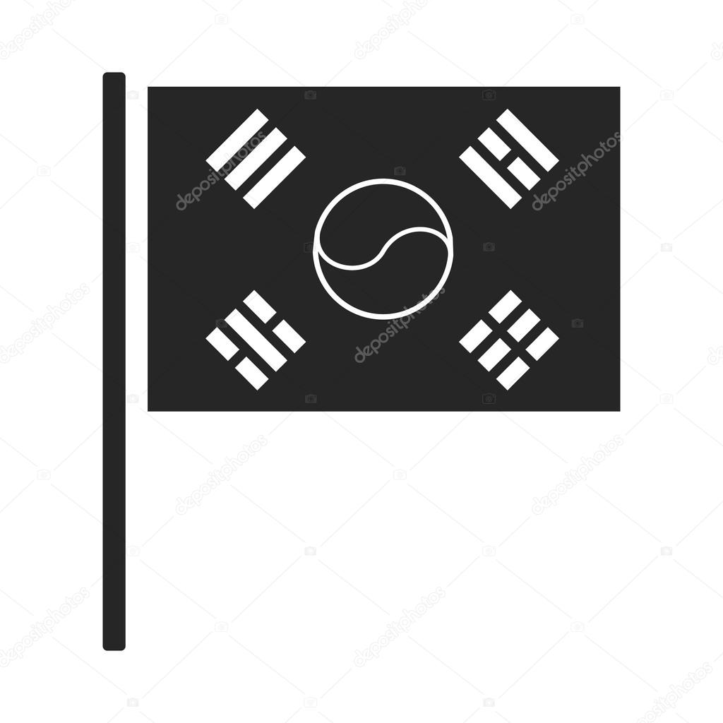 Dél-Korea ikonjára fekete stílus elszigetelt fehér background zászlaja. Dél- Korea szimbólum vektor stock illusztráció– stock illusztrációk 76c1399f6e