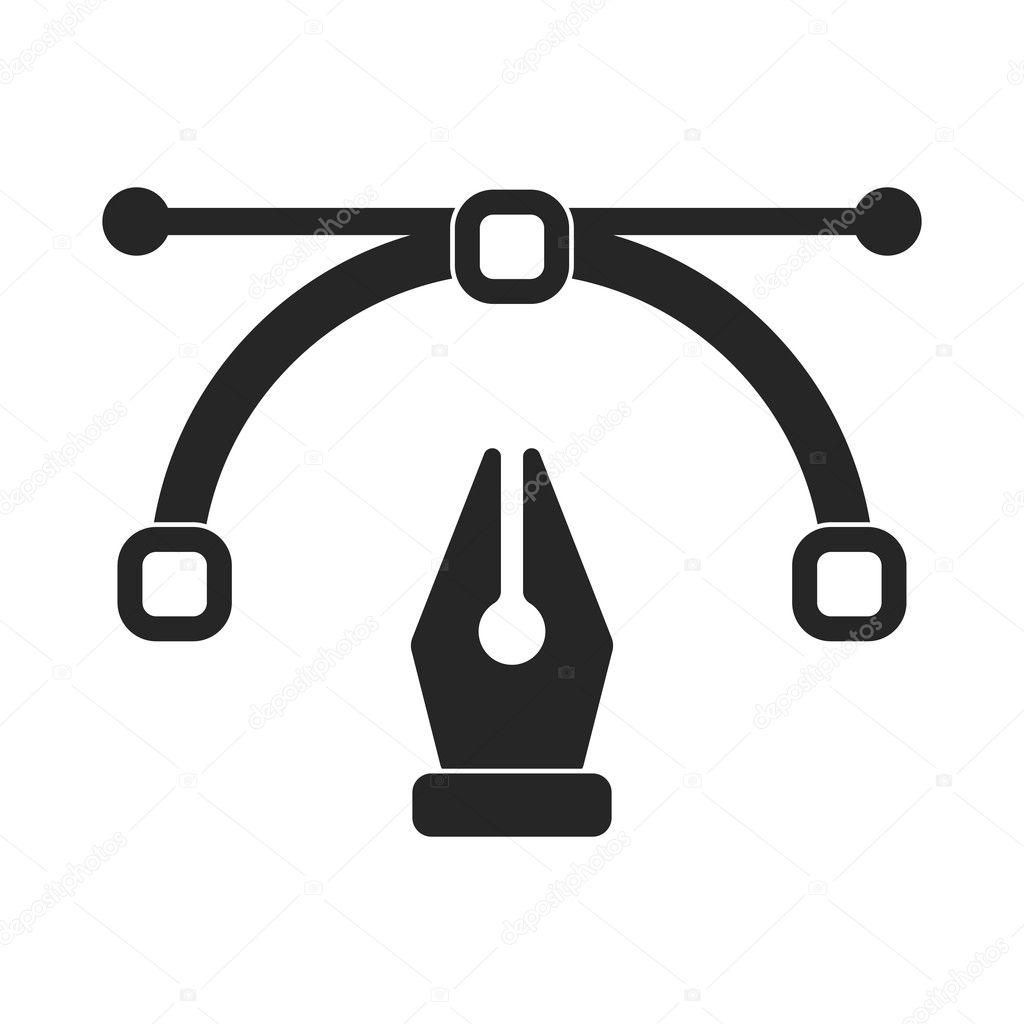 pen tool in black style isolated on white background typography